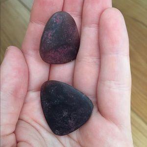 Maroon/Dark Purple Stone Earrings Vintage 80's